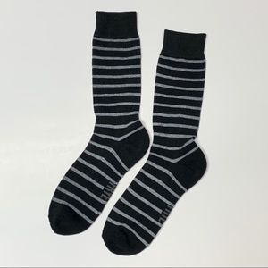 Frye Crew Socks Black with Gray Stripes
